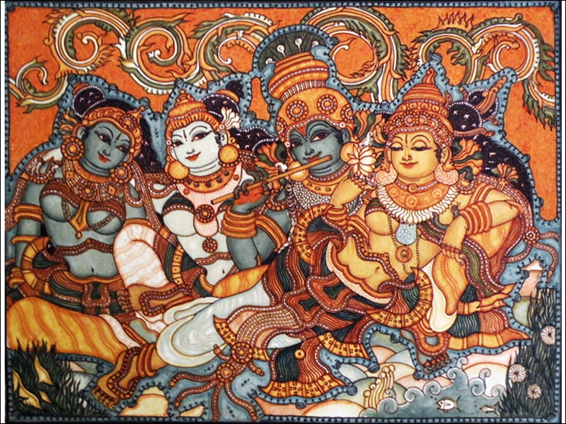 D 39 source design gallery on guruvayur mural paintings for Asha mural painting guruvayur